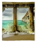 Waves Smash Into The Pier Fleece Blanket