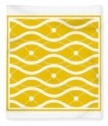 Waves With Border In Mustard Fleece Blanket