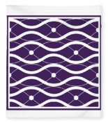 Waves With Border In Purple Fleece Blanket