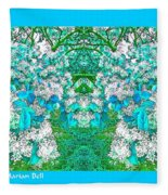 Waxleaf Privet Blooms In Aqua Hue Abstract With Aqua Frame Fleece Blanket