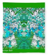 Waxleaf Privet Blooms In Aqua Hue Abstract With Green Frame Fleece Blanket