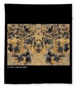 Waxleaf Privet Blooms In Black And White - Color Invert With Golden Tones Abstract Fleece Blanket