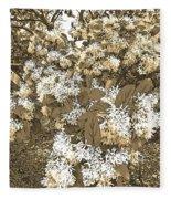 Waxleaf Privet Blooms On A Sunny Day In Sepia Tones Fleece Blanket