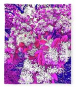 Waxleaf Privet Blooms On A Sunny Day With Magenta Hue Fleece Blanket