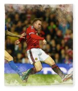 Wayne Rooney Of Manchester United Scores Fleece Blanket
