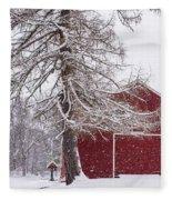 Wayside Inn Red Barn Covered In Snow Storm Reflection Fleece Blanket