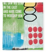 We Come To Worship- Contemporary Christmas Card By Linda Woods Fleece Blanket