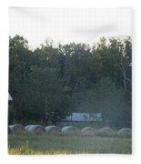 Weathered Barn And Hay Bales  Fleece Blanket