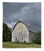 Weathered Barn And Silo Under A Cloudy Sky Fleece Blanket