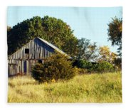 Weathered Barn In Fall Fleece Blanket