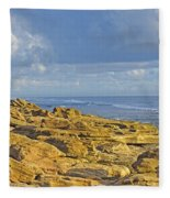 Weathered Coquina Ocean Rocks Fleece Blanket