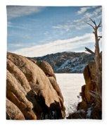 Weathered - Pathfinder Reservoir - Wyoming Fleece Blanket