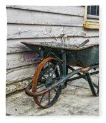 Weathered Green Wheelbarrow Fleece Blanket