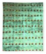 Weathered Metal Rivets With Green Patina Fleece Blanket