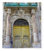 Weathered Old Artistic Door On A Building In Palermo Sicily Fleece Blanket