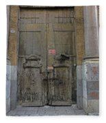Weathered Old Door On A Building In Palermo Sicily Fleece Blanket