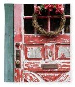 Weathered Red Door 3 Fleece Blanket