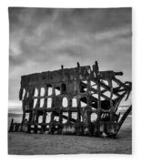 Weathered Rusting Shipwreck In Black And White Fleece Blanket