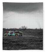 Weathered - Old Car In Texas Field Fleece Blanket