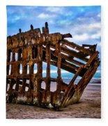 Weathered Shipwreck Fleece Blanket
