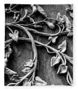 Weathered Wall Art In Black And White Fleece Blanket
