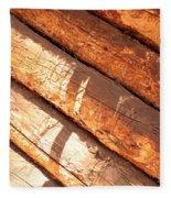 Weathered Wood Log Cabin Fleece Blanket