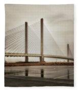 Weathering Weather At The Indian River Inlet Bridge Fleece Blanket