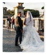 Wedding Stroll On The Ponte Sant'angelo Fleece Blanket