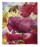 Wee Bees And Poppies Fleece Blanket