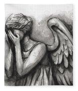Weeping Angel Watercolor Fleece Blanket
