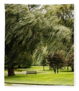 Weeping Willow Trees On Windy Day Fleece Blanket