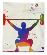 Weightlifter Paint Splatter Fleece Blanket
