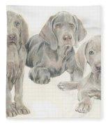 Weimaraner Puppies Fleece Blanket