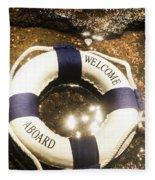 Welcome Aboard Nautical Paradise Fleece Blanket