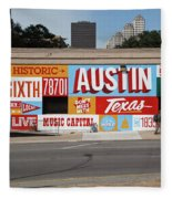Welcome To Historic Sixth Street Is A Famous Mural Located At 6th Street And I-35 Frontage Road, Austin, Texas - Stock Image Fleece Blanket