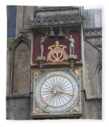Wells Cathedral Outside Clock Fleece Blanket