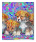 Welsh Corgi Pups Fleece Blanket