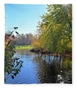 West Branch Iowa River Fleece Blanket