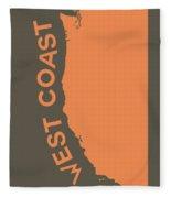 West Coast Pop Art - Crusta Orange On Judge Grey Brown Fleece Blanket
