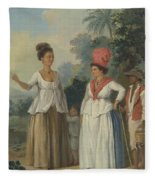 West Indian Women Of Color, With A Child And Black Servant Fleece Blanket