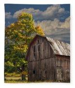 West Michigan Barn In Autumn Fleece Blanket