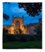 West Side Of Hexham Abbey At Night Fleece Blanket