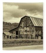 West Virginia Barn Sepia Fleece Blanket