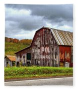 West Virginia Barn Fleece Blanket