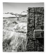 Western Barbed Wire Fence Black And White Fleece Blanket