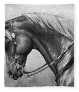Western Horse Black And White Fleece Blanket