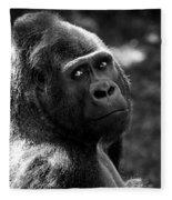 Western Lowland Gorilla Closeup Fleece Blanket