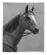 Western Quarter Horse Black And White Fleece Blanket
