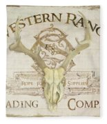 Western Range 3 Old West Deer Skull Wooden Sign Trading Company Fleece Blanket