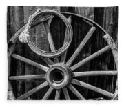 Western Rope And Wooden Wheel In Black And White Fleece Blanket